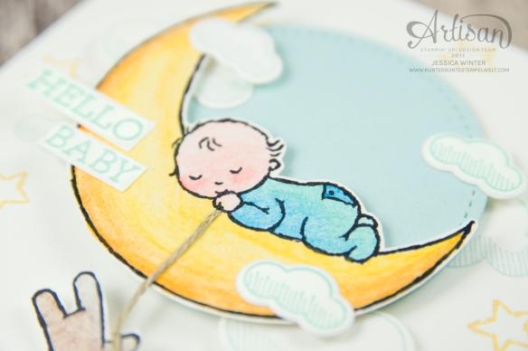 Stampin´ Up - Moon Baby - Aquarellstifte - Farbkarton Seidenglanz - Abgehoben - Framelitsformen Stickmuster - 2