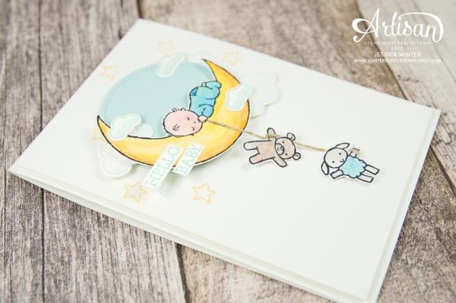 Stampin´ Up - Moon Baby - Aquarellstifte - Farbkarton Seidenglanz - Abgehoben - Framelitsformen Stickmuster - 5