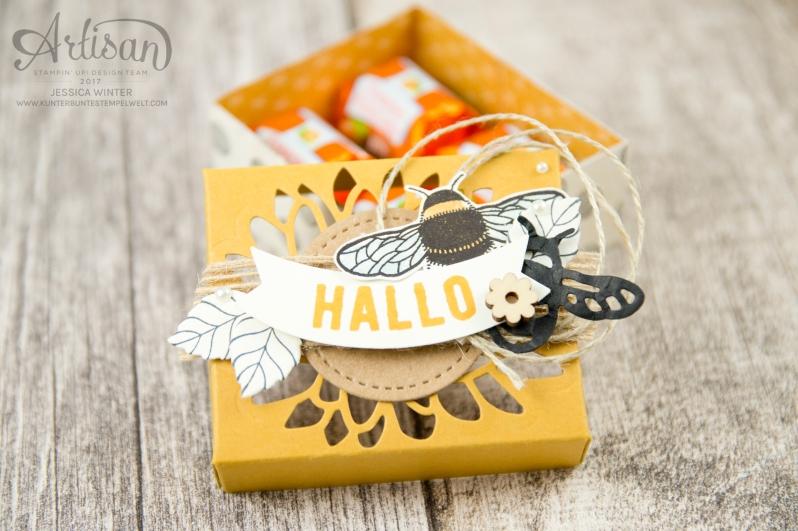 Stampin´ Up - Li(e)belleien -THinlitsformen Libelle - Accessoires Liebe Grüße - Besonderes Designerpapier Unvergleichlich Urban- Verpackung für Ferrero Küsschen - 1