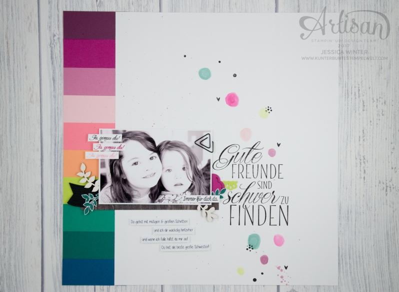 Stampin´ Up! - scrapbooking - Thinlits Lorbeerkranz - Für Freunde - Designerpapier Holzdekor - Akzente aus der Natur - Papierklips kleine Vielfalt - 1
