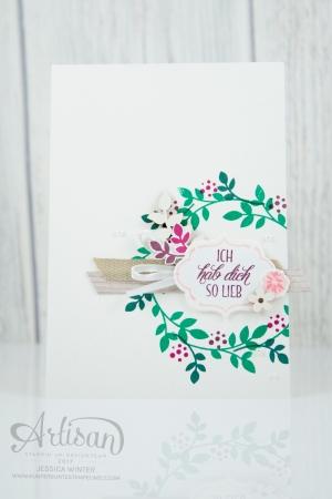 Stampin´ Up! - Für Freunde - Thilits Lorbeerkranz - Designerpapier Holzdekor - gewebtes Geschenkband Savanne - Feines Geschenkband Flüsterweiß - 1