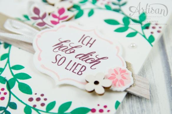 Stampin´ Up! - Für Freunde - Thilits Lorbeerkranz - Designerpapier Holzdekor - gewebtes Geschenkband Savanne - Feines Geschenkband Flüsterweiß - 2