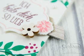 Stampin´ Up! - Für Freunde - Thilits Lorbeerkranz - Designerpapier Holzdekor - gewebtes Geschenkband Savanne - Feines Geschenkband Flüsterweiß - 4