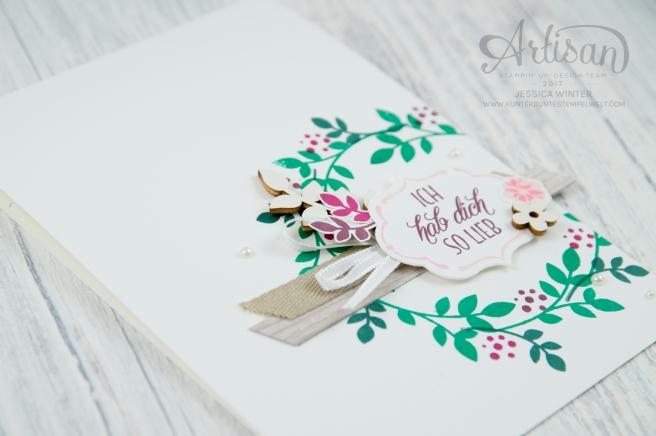 Stampin´ Up! - Für Freunde - Thilits Lorbeerkranz - Designerpapier Holzdekor - gewebtes Geschenkband Savanne - Feines Geschenkband Flüsterweiß - 6