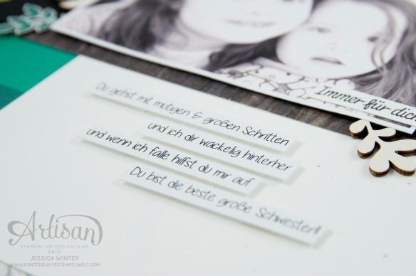 Stampin´ Up! - scrapbooking - Thinlits Lorbeerkranz - Für Freunde - Designerpapier Holzdekor - Akzente aus der Natur - Papierklips kleine Vielfalt - 8