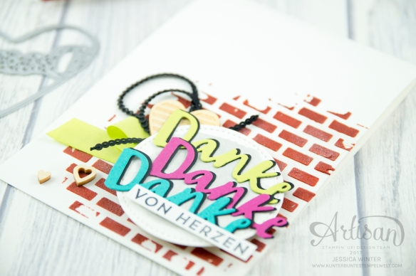 Stampin´ Up! - Struktur-Paste - Dekoschablonen Muster-Mix - Thinlits Liebevolle Worte - Mini Pailettenband - 5