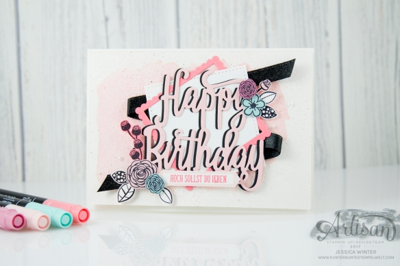 Stampin´ Up! - Alles Liebe Geburtstagskind - Thinlitsform Happy Birthday - Lagenweise Quadrate - Framlitsformen Stickmuster - 1