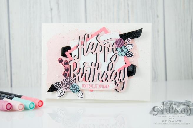 Stampin´ Up! - Alles Liebe Geburtstagskind - Thinlitsform Happy Birthday - Lagenweise Quadrate - Framlitsformen Stickmuster - 1