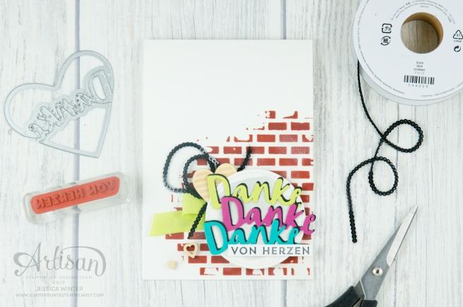 Stampin´ Up! - Struktur-Paste - Dekoschablonen Muster-Mix - Thinlits Liebevolle Worte - Mini Pailettenband - 1
