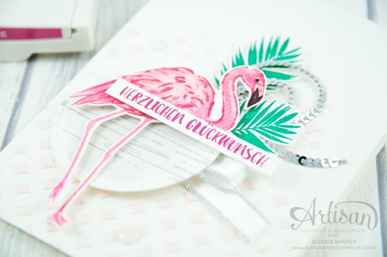 Stampin´ Up! - Flamingo Fantasie - Strukturpaste - Dekoschablonen - Mini Pailettenband - 2
