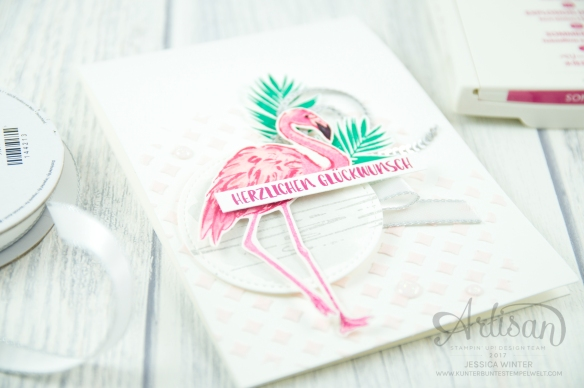 Stampin´ Up! - Flamingo Fantasie - Strukturpaste - Dekoschablonen - Mini Pailettenband - 5