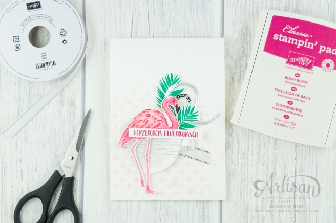 Stampin´ Up! - Flamingo Fantasie - Strukturpaste - Dekoschablonen - Mini Pailettenband - 1