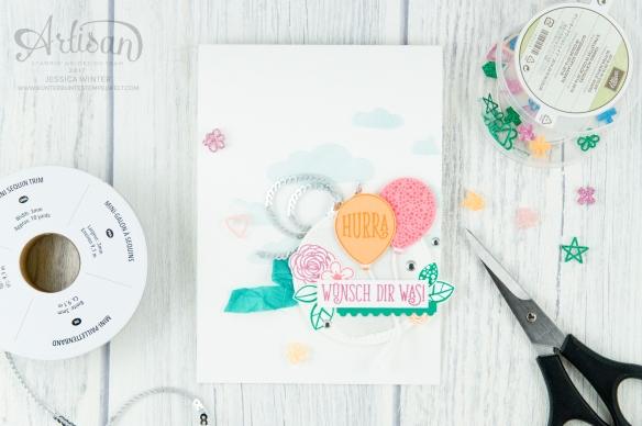 Stampin´ Up! - Strukturpaste - Dekoschablone - Stanze Luftballon - Alles Liebe, Geburtstagskind - Stanze Abreißkante 1