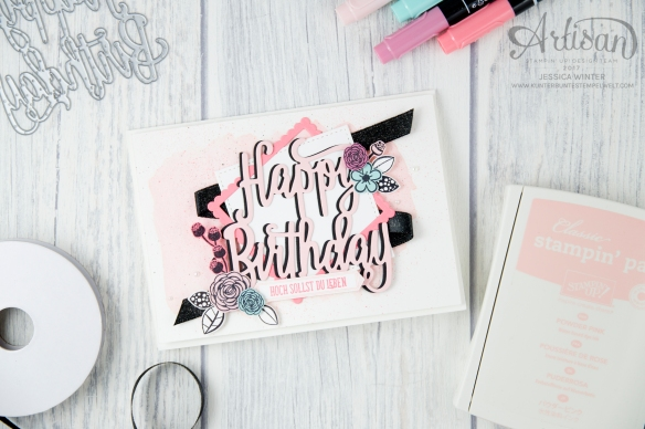 Stampin´ Up! - Alles Liebe Geburtstagskind - Thinlitsform Happy Birthday - Lagenweise Quadrate - Framlitsformen Stickmuster - 5