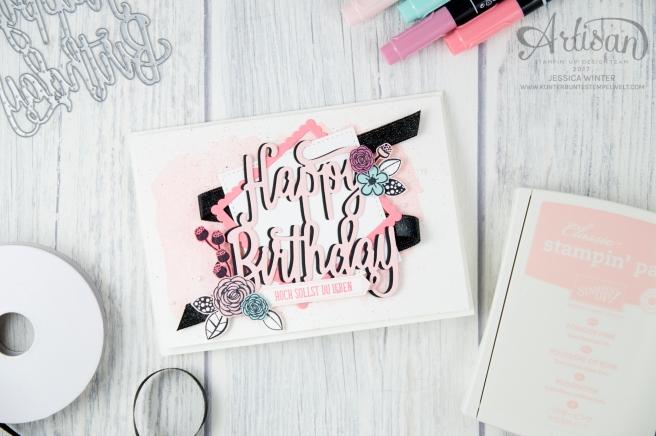 Stampin´ Up! - Alles Liebe Geburtstagskind - Thinlitsform Happy Birthday - Lagenweise Quadrate - Framlitsformen Stickmuster - 5