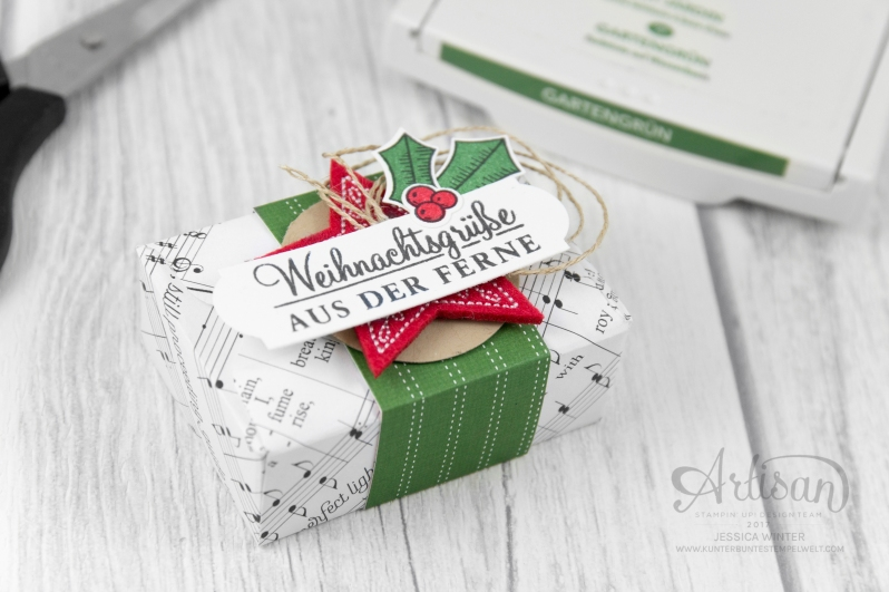 Stampin up_Designerpapier Weihnachtslieder_Envelope Punch Board_Adventsgrün_Elementstanze Adventschmuck_1