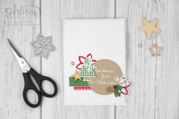 Stampin´ Up! _ Designerpapier Weihnachtsquilt _ Weihnachtsquilt _ Framelits Formen Quilt _ bestickete Filz Accessoires _1