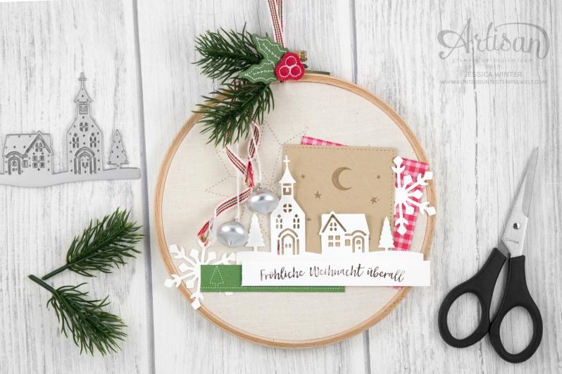 Stampin´ Up! _ Stickrahmen _ Edgelits Winterstädtchen _ Designerpapier Weihnachtsquilt _ Filzaccessoires _ 1