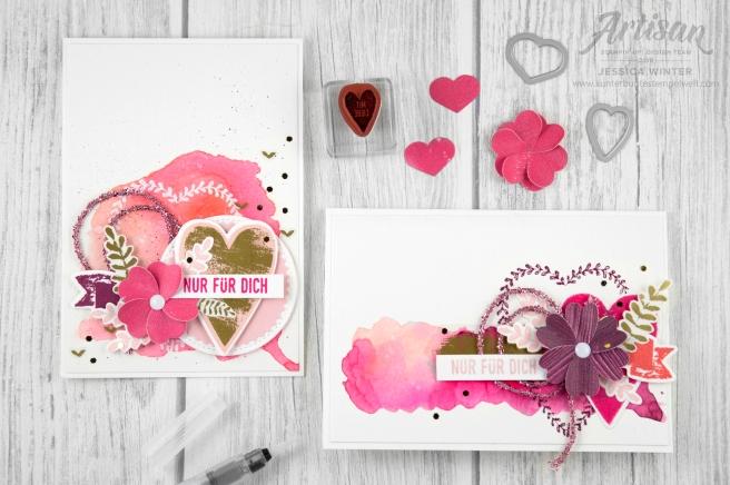 Stampin´ Up! _ Für Schatz-Karten _ besonderes Designerpapier Gemalt mit Liebe _ Vinylaufkleber _ Mini Glitzergirlanden _ Framelitsformen Voller Liebe _ 1