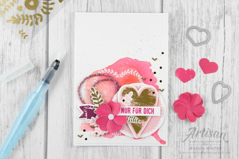 Stampin´ Up! _ Für Schatz-Karten _ besonderes Designerpapier Gemalt mit Liebe _ Vinylaufkleber _ Mini Glitzergirlanden _ Framelitsformen Voller Liebe _ 2