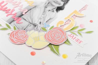 Stampin up _ Designerpapier Geburtstgassoiree _ Framelits Große Zahlen _ Thinlits Liebevolle Worte _ 2