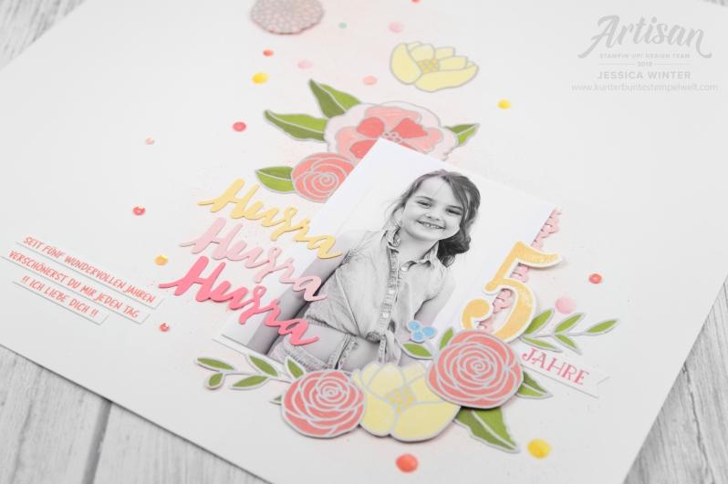 Stampin up _ Designerpapier Geburtstgassoiree _ Framelits Große Zahlen _ Thinlits Liebevolle Worte _ 4