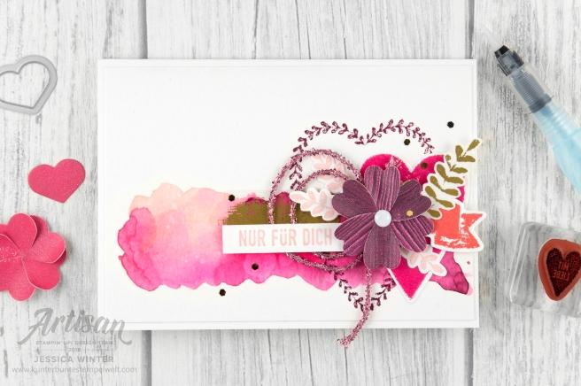 Stampin´ Up! _ Für Schatz-Karten _ besonderes Designerpapier Gemalt mit Liebe _ Vinylaufkleber _ Mini Glitzergirlanden _ Framelitsformen Voller Liebe _ 5