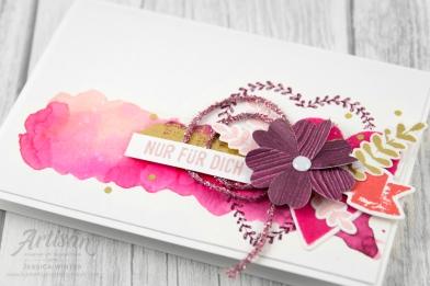 Stampin´ Up! _ Für Schatz-Karten _ besonderes Designerpapier Gemalt mit Liebe _ Vinylaufkleber _ Mini Glitzergirlanden _ Framelitsformen Voller Liebe _ 6