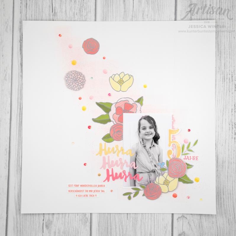 Stampin up _ Designerpapier Geburtstgassoiree _ Framelits Große Zahlen _ Thinlits Liebevolle Worte _ 1
