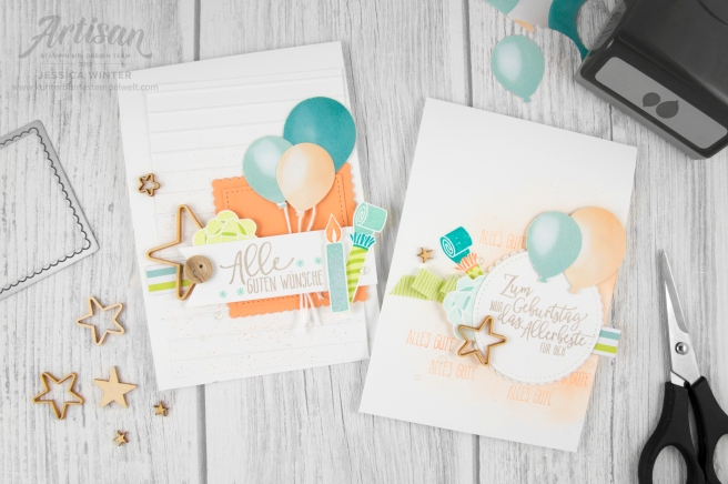 stampin up _ Designerpapier perfekte Party _ Artisan Design Team _ Perfekter Geburtstag _ Luftballon Stanze _ Prägeform Schlichte Streifen _1
