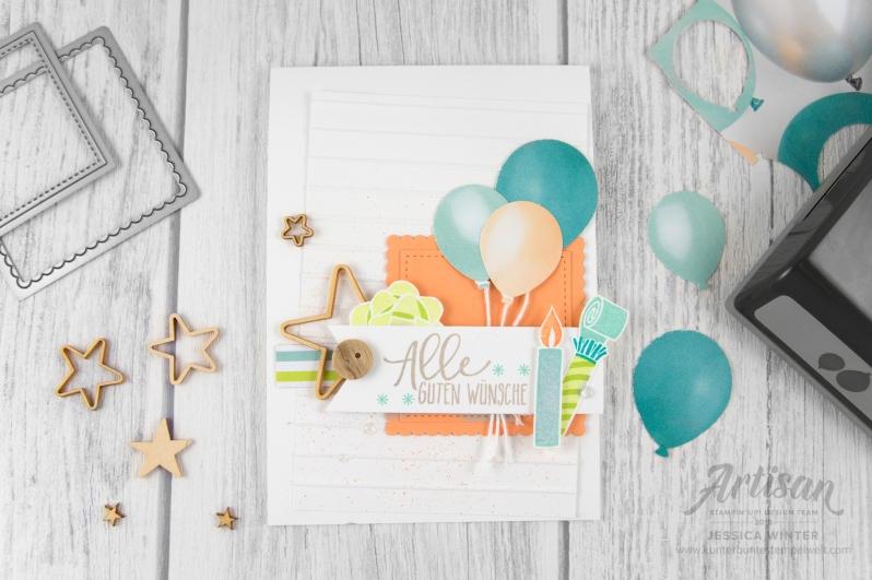 stampin up _ Designerpapier perfekte Party _ Artisan Design Team _ Perfekter Geburtstag _ Luftballon Stanze _ Prägeform Schlichte Streifen _2