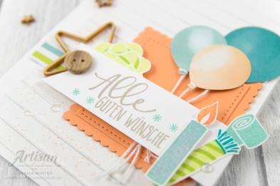 stampin up _ Designerpapier perfekte Party _ Artisan Design Team _ Perfekter Geburtstag _ Luftballon Stanze _ Prägeform Schlichte Streifen _4