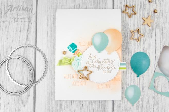 stampin up _ Designerpapier perfekte Party _ Artisan Design Team _ Perfekter Geburtstag _ Luftballon Stanze _ Prägeform Schlichte Streifen _5