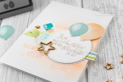 stampin up _ Designerpapier perfekte Party _ Artisan Design Team _ Perfekter Geburtstag _ Luftballon Stanze _ Prägeform Schlichte Streifen _6