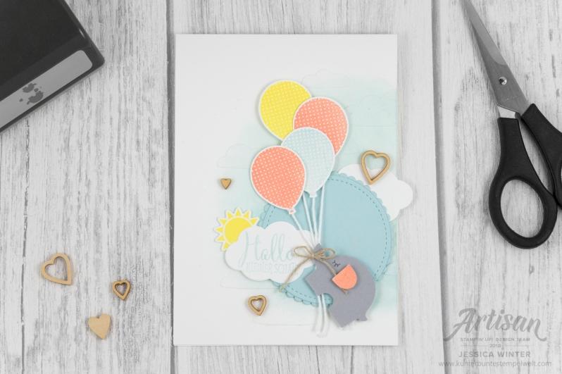 Stampin´ Up _ Elementstanze Elefant _ Stickmuster _ Stanze Luftballon _ Geburtstagsbanner _ Akzente Herzen und Sterne _ 1