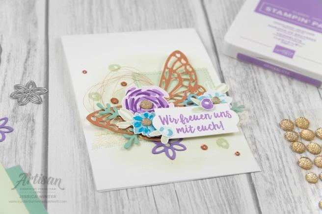 Hochzeitskarte mit Stampin´ Up! Produkten aus Österreich. Stempelset Frühlingsfreuden und Thinlitsfromen Frühlingsimpressionen. Meine kunterbunte Stempelwelt