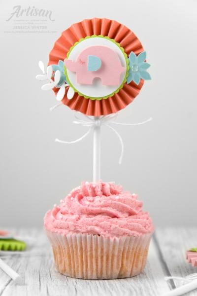 Stampin Up Cupcake Topper gefertigt mit der Elementstanze Elefant und Framelits Rankenrahmen. Meine kunterbunte Stempelwelt