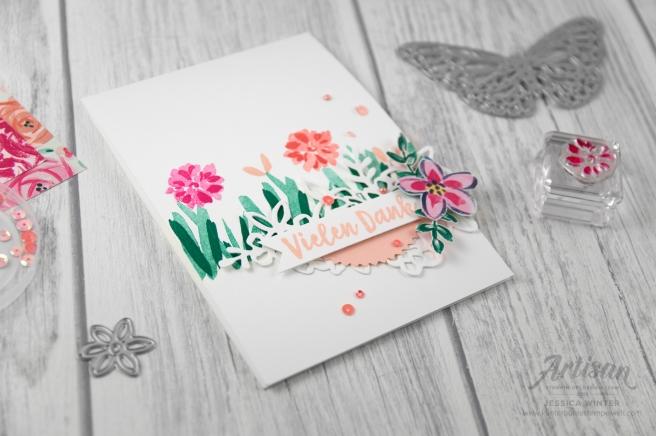 Handgestempelte Karte mit Stampin´ Up! Produktserie Gartenimpressionen. Meine kunterbunte Stempelwelt