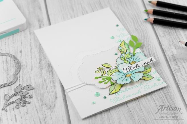 Produktpaket Jahr voller Farben coloriert mit Aquarellstifte Sortiment 2. Meine kunterbunte Stempelwelt