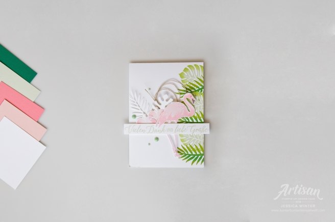 Sommerliches KArtenset gestaltet mit dem Stempelset Tropenflair, Flamingofantasie und passenden Thinlitsformen Palmengarten. Meine kunterbunte Stempelwelt