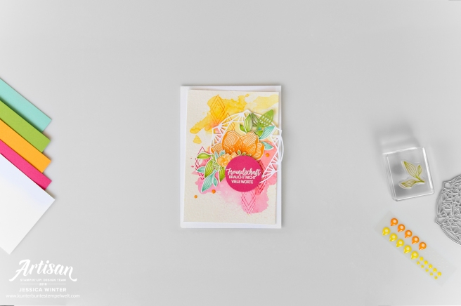 stampin up Karte mit dem Stempelset Blütenzauber und Thinlitsformen Zarte Zierde, mit Aquarellhintergrund. Meine Kunterbunte Stempelwelt