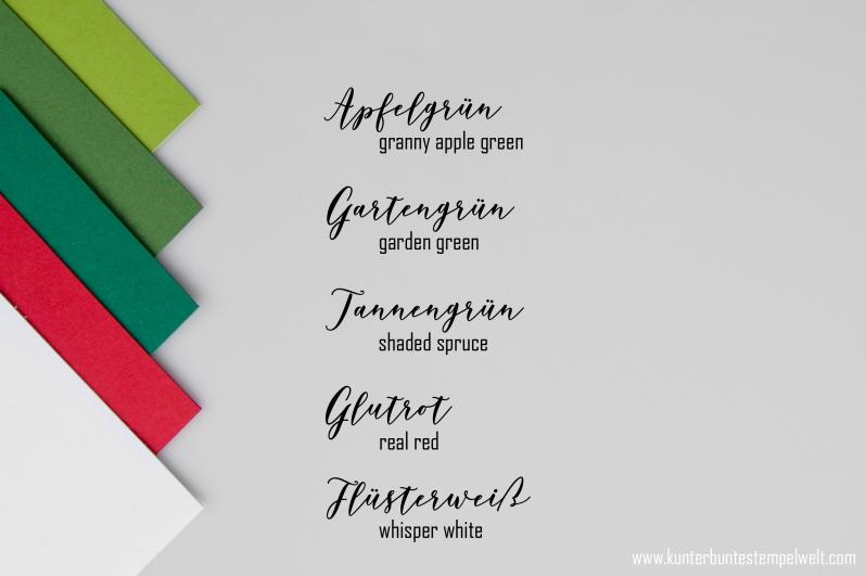 Farbkombination für eine Weihnachtlich Verpackung mit Stampin Up Farben. Meine kunterbunte Stempelwelt