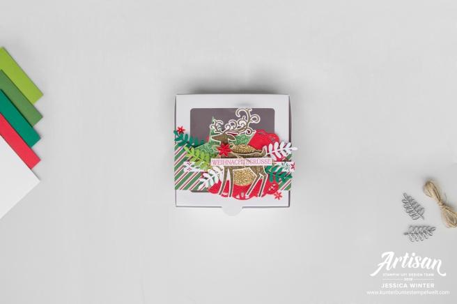 Weihnachtliche Verpackung gestalten mit Stampin´ Up! Produkten Weihnachtshirsch und Designerpapier Elegante Weihanchten. Meine kunterbunte Stempelwelt