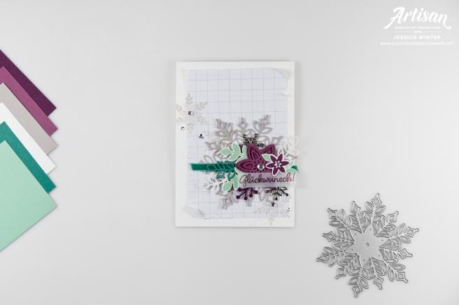 Winterliche Geburtstagskarte gestaltet mit Stampin´ Up! Produkten Glück per Post und Schneegestöber. Meine kunterbunte Stempelwelt