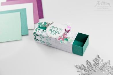 Winterliche Geburtstagsverpackung gestaltet mit Stampin´ Up! Produkten Glück per Post und Schneegestöber. Meine kunterbunte Stempelwelt