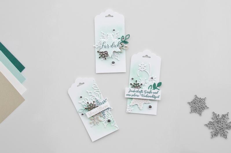 Stampin´ Up! Geschenkanhänger mit dem Stempelset Wintermärchen und den Thinlitsformen Schneegestöber. Meine kunterbunte Stempelwelt