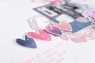 Scrapbooking Layout mit Produkten von Cocoa Vanilla aus der Midnight Serie. Kunterbunte Stempelwelt