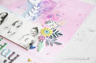 Scrapbooking Layout mit Produkten von Pinkfresh Studio der Serie Everyday Mussing. Meine kunterbunte Stempelwelt