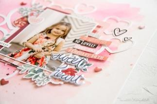 Scrapbooking Layout mit Produkten von Simple Stories und der Produkt Serie Kissing Booth. Meine kunterbunte Stempelwelt