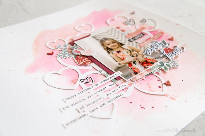 Scrapbooking Layout mit Produkten von Simple Stories und der Produkt Serie Kissing Booth. Meine kunterbunte Stempelwelt